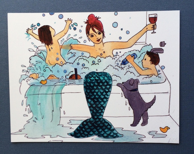 "MERMAID BATH Magnet/ 4"" x 5""/ Fridge magnet/ mermaid art/ motherhood/ wine/ gift for mom"