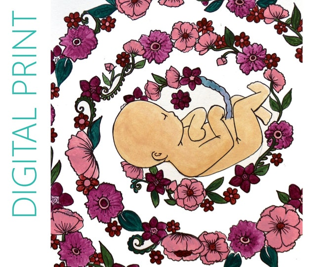 """DIGITAL """"Blossoms"""" print/poster /Birth Art/ Pregnancy Art/ midwife/ doula/ gift for new mom"""