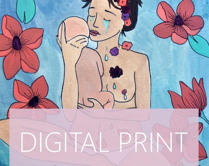 "DIGITAL ""Tears"" print/poster /Birth Art/ Postpartum/ Motherhood/ Midwife/ Doula"