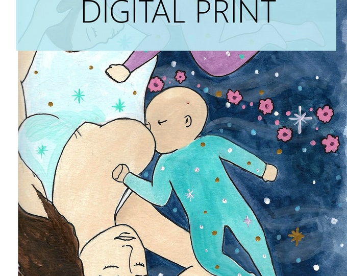 "DIGITAL ""Sleeps"" print/poster /breastfeeding art/ cosleeping/ midwife/ doula/ gift for new mom"