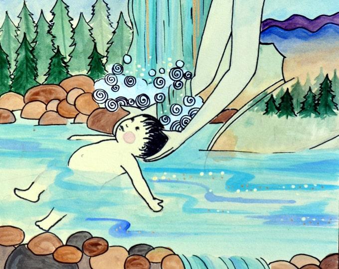 "BAPTISM- 8.5 x 11"" / inspirational art/ birth art/ gift for new mom/ blessing way gift/ gift for mom/ new mom/ pregnancy"
