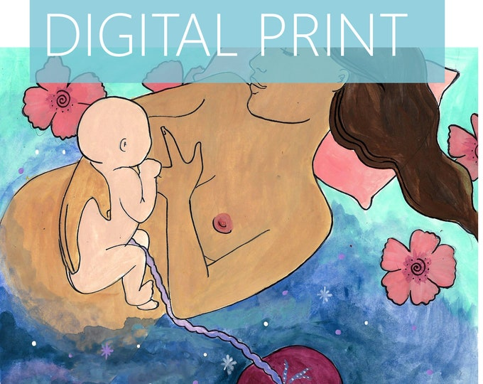 "DIGITAL ""Immersed"" print/poster /Birth Art/ Placenta art/ Pregnancy Art/ midwife/ doula/ gift for new mom"