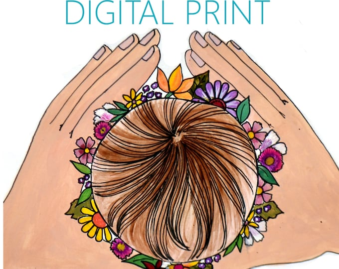 "DIGITAL ""Crown"" print/poster /Birth Art/ Pregnancy Art/ midwife/ doula/ gift for new mom"