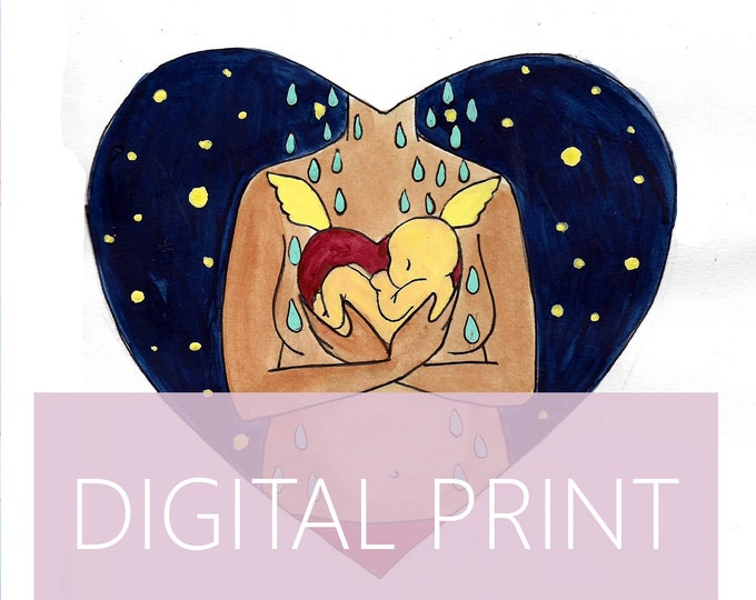 "DIGITAL ""Loss"" print/poster /Birth Art/ Miscarriage/ Pregnancy Loss / Motherhood/ Midwife/ Doula"