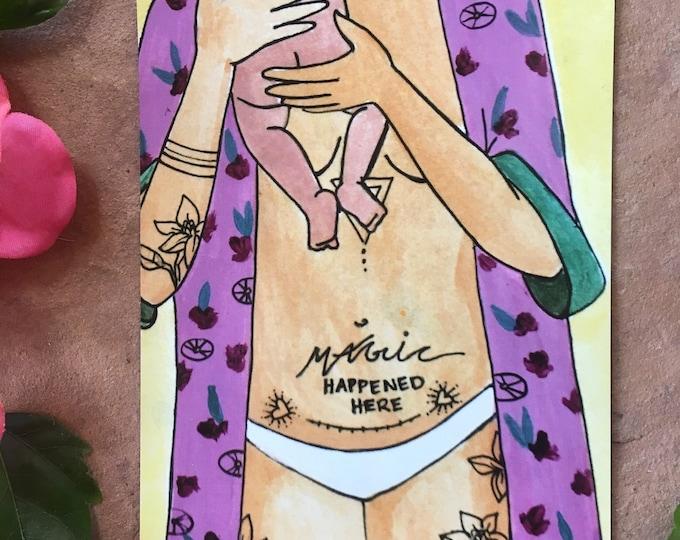 "MAGIC MAMA Magnet/ 4"" x 5""/ Fridge magnet/ Birth art/ cesarean/ csection/ cesarean art/ csection art"