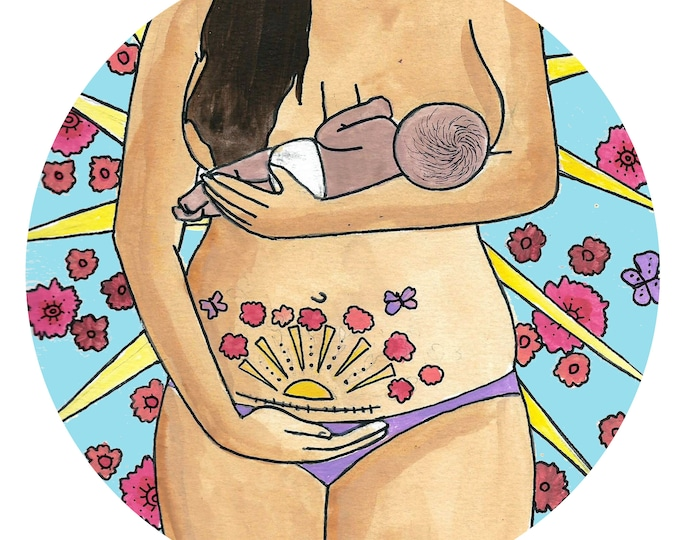 """CESAREAN CELEBRATION Window Sticker/ 5""""/  Postpartum art/ Midwife/ Doula/ Gift for Midwife/ Gift for doula/ window cling"""