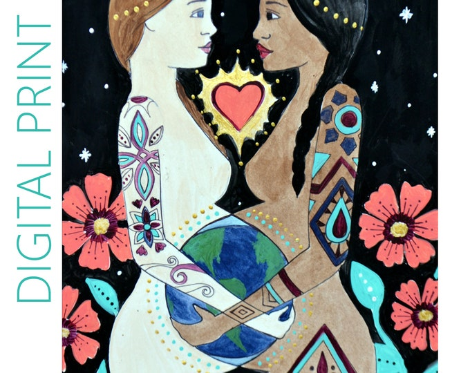 "DIGITAL ""Mundo"" print/poster /Birth Art/ Pregnancy Art/ midwife/ doula/ gift for new mom"