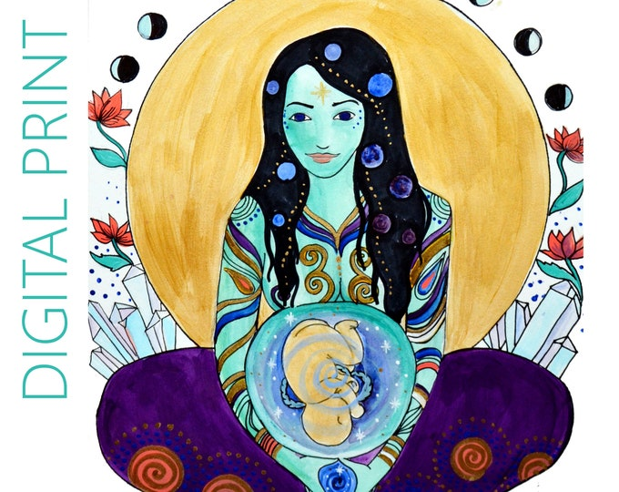 "DIGITAL ""Galaxy"" print/poster /Birth Art/ Pregnancy Art/ midwife/ doula/ gift for new mom"
