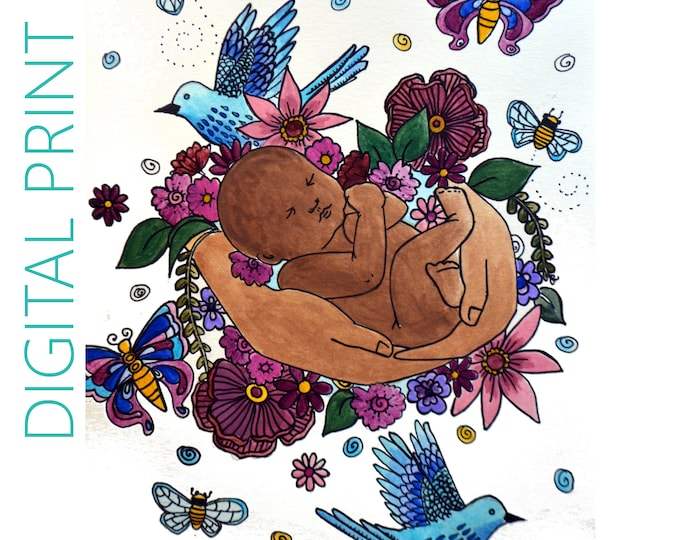 "DIGITAL ""Rejoice"" print/poster /Birth Art/ Pregnancy Art/ midwife/ doula/ gift for new mom"