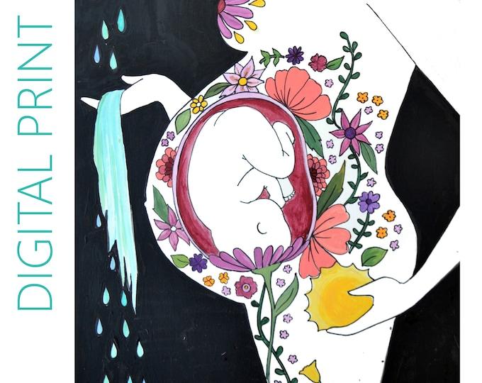 "DIGITAL ""Garden"" print/poster /Birth Art/ Pregnancy Art/ midwife/ doula/ gift for new mom"