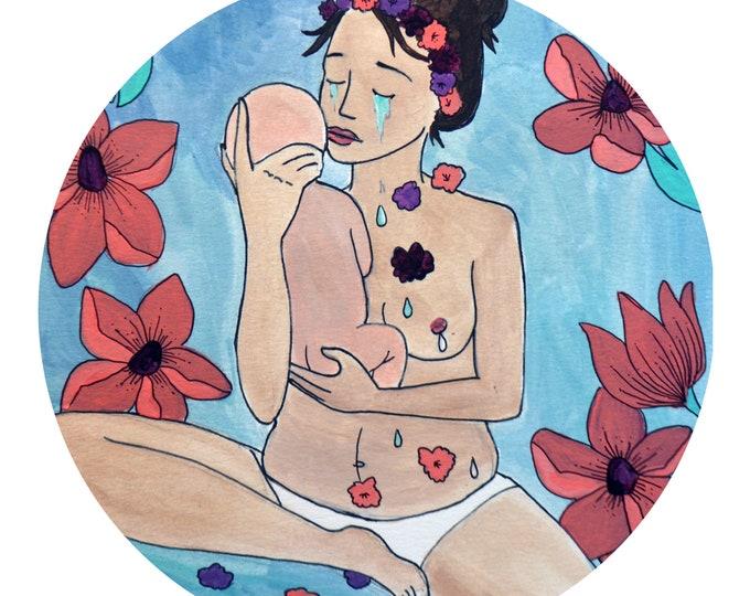 """TEARS Window Sticker/ 5""""/  Postpartum art/ Midwife/ Doula/ Gift for Midwife/ Gift for doula/ window cling"""