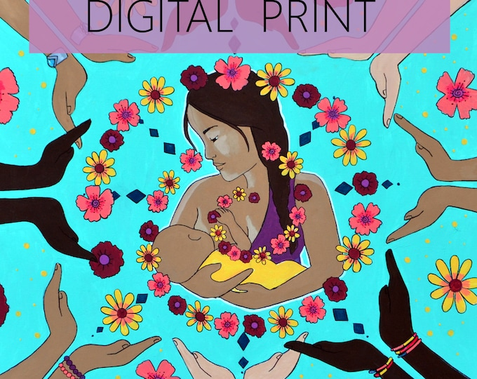"DIGITAL ""Circle of Support"" print/poster /Birth Art/ Breastfeeding/ Community/ Doula"