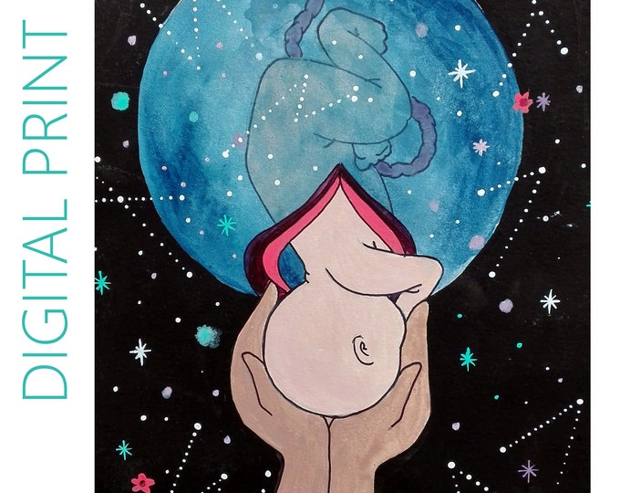 """DIGITAL """"Being Born"""" print/poster /Birth Art/ Pregnancy Art/ midwife/ doula/ gift for new mom"""