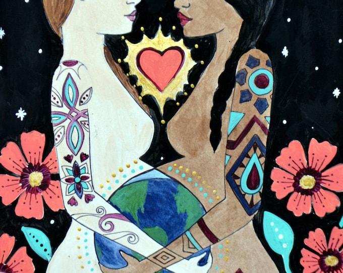 "MUNDO- 8.5 x 11"" / inspirational art/ birth art/ gift for new mom/ blessing way gift/ gift for mom/ new mom/ pregnancy"