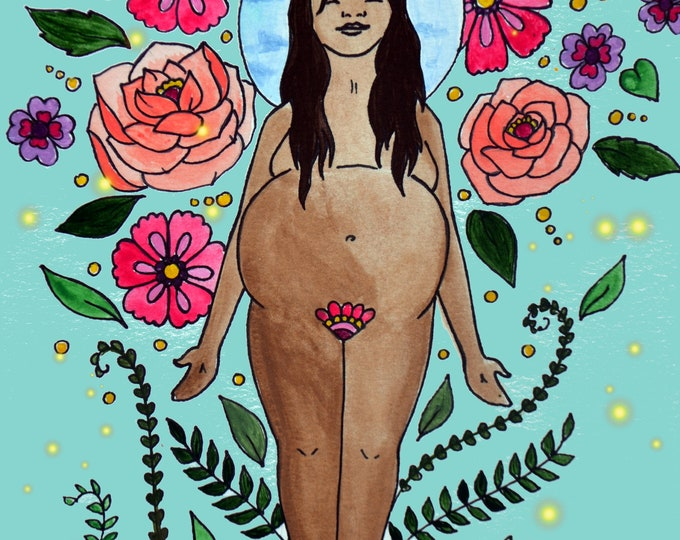 "DIOSA/ 8.5"" x 11"" original art print/ pregnancy art/ birth art/ goddess/ divine feminine/ feminist art"
