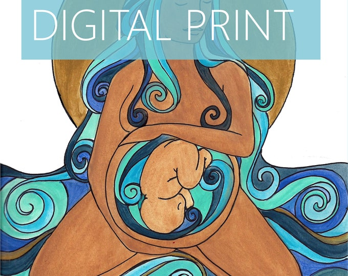 "DIGITAL ""Agua"" print/poster/ Pregnancy Art/ midwife/ doula/ gift for new mom/ birth art"