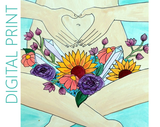 """DIGITAL """"Womb in Bloom"""" print/poster /feminist art/ Pregnancy Art/ midwife/ doula/ gift for new mom"""