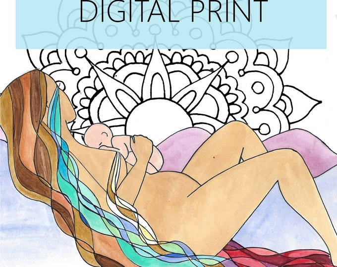 "DIGITAL ""Flow"" print/poster /Birth Art/ Pregnancy Art/ midwife/ doula/ gift for new mom"