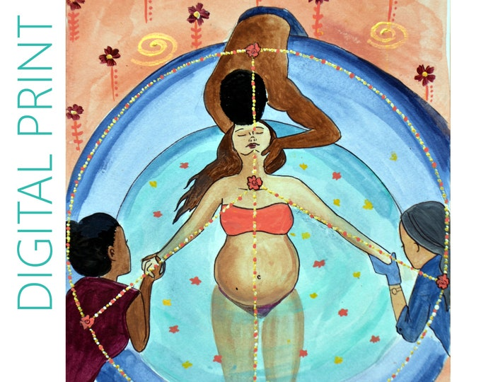"""DIGITAL """"Peace Sign"""" print/poster /Birth Art/ Water Birth/ Pregnancy Art/ midwife/ doula/ gift for new mom"""