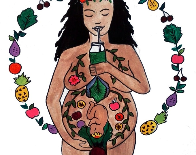 "DIGITAL ""Green Goddess"" print/poster /feminist art/ Pregnancy Art/ midwife/ doula/ gift for new mom"