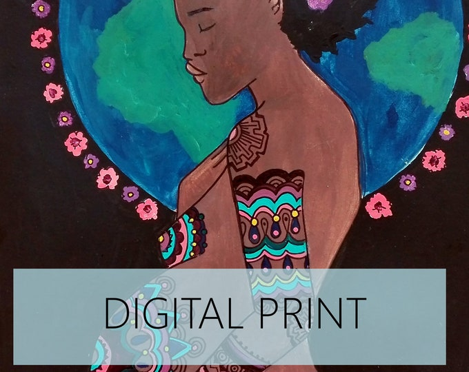 """DIGITAL """"Earth"""" print/poster /Birth Art/ Pregnancy Art/ midwife/ doula/ gift for new mom"""