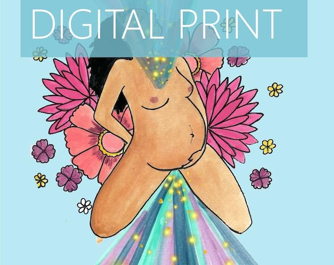 "DIGITAL ""Divine Dance"" print/poster/ Pregnancy Art/ midwife/ doula/ gift for new mom/ birth art"