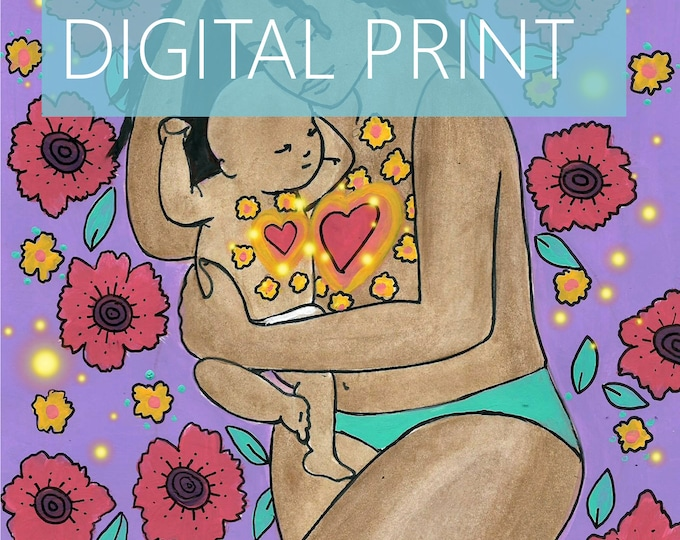 """DIGITAL """"Heart to Heart"""" print/poster /Birth Art/motherhood/ mama/ midwife/ doula/ gift for new mom"""