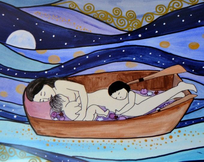 """SWEETDREAMS// 8"""" x 12"""" original art print/ nursing/ breastfeeding art/ mothering art/ gift for new mom/ nursery art/ nursery decor/"""