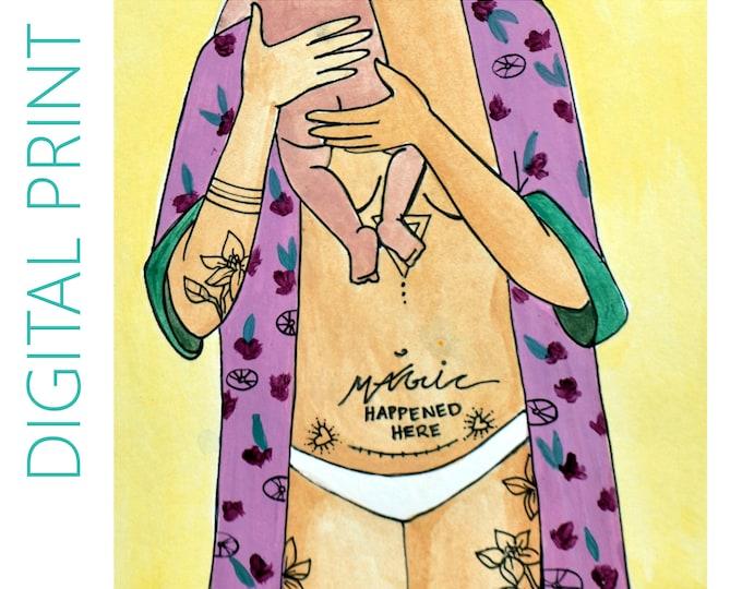 "DIGITAL ""Magic Mama"" print/poster /Birth Art/ csection/ cesarean birth/ doula/ gift for new mom"