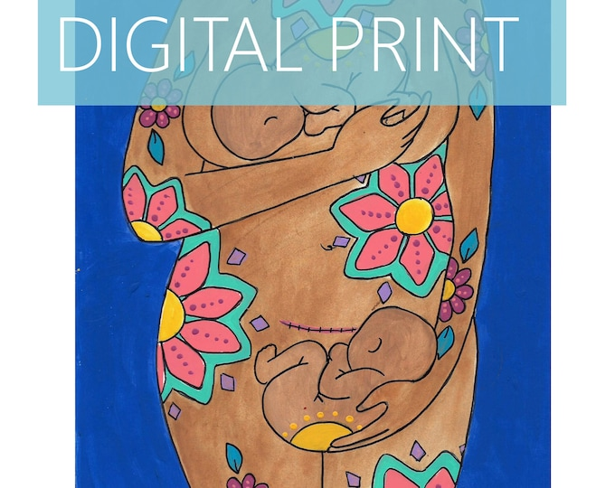 """DIGITAL """"Twin Belly Birth"""" print/poster /Birth Art/ csection/ cesarean birth/ doula/ gift for new mom"""