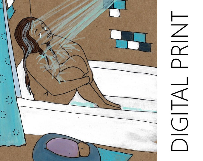 "DIGITAL ""Feel"" print/poster /Birth Art/ Pregnancy Art/ midwife/ doula/ gift for new mom"