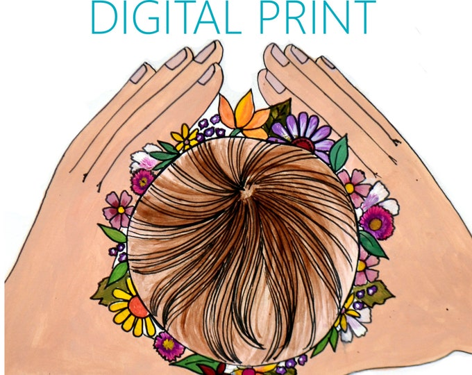 """DIGITAL """"Crown"""" print/poster /Birth Art/ Pregnancy Art/ midwife/ doula/ gift for new mom"""