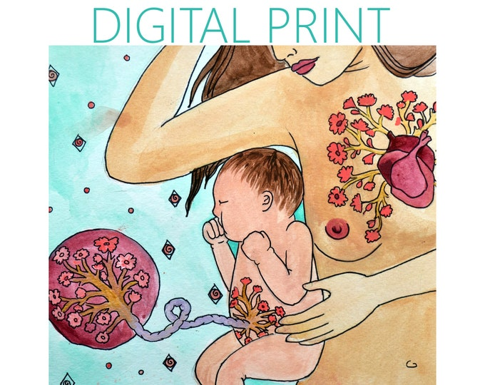 """DIGITAL """"Connection"""" print/poster /Birth Art/ Placenta art/ Pregnancy Art/ midwife/ doula/ gift for new mom"""