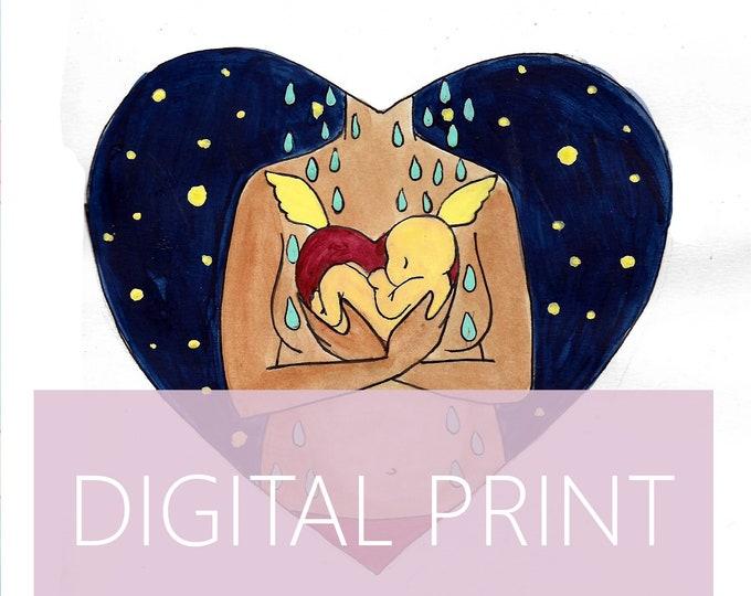 "DIGITAL ""Loss"" print/poster /Birth Art/ Miscarriage/ Pregnancy Loss / Motherhood/ Midwife/ Doula"