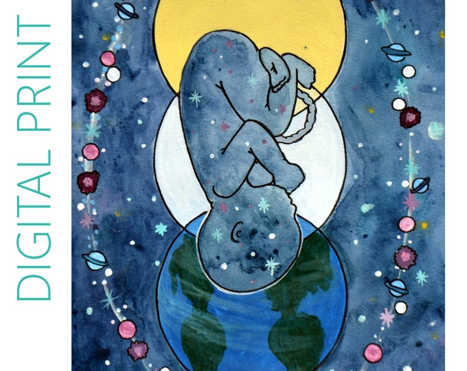 """DIGITAL """"Entrance"""" print/poster /Birth Art/ Pregnancy Art/ midwife/ doula/ gift for new mom"""