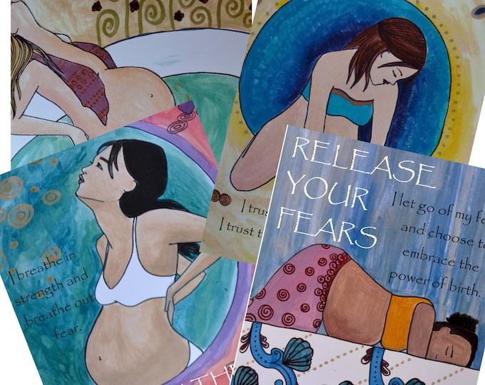 DIGITAL Birth Affirmation prints/poster set /Birth Art/ Pregnancy Art