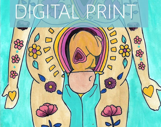"""DIGITAL """"Belly Birth"""" print/poster /Birth Art/ csection/ cesarean birth/ doula/ gift for new mom"""