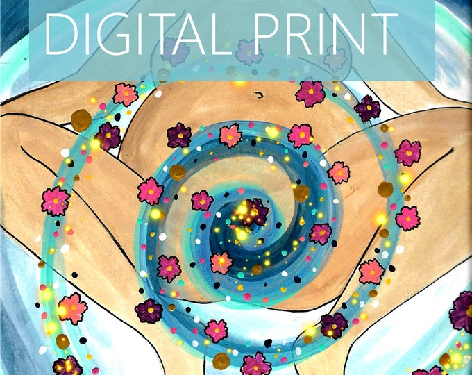 """DIGITAL """"Sacred Spiral"""" print/poster/ Pregnancy Art/ midwife/ doula/ gift for new mom/ birth art"""