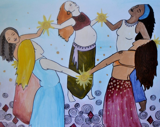 TRIBE/ 8.5 x 11 art print/ sisters/ sisterhood/ goddess/ community/ red tent/ divine feminine/ mothers day