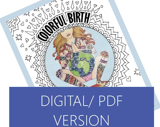DIGITAL Colorful Birth Coloring sheets/ birth art/