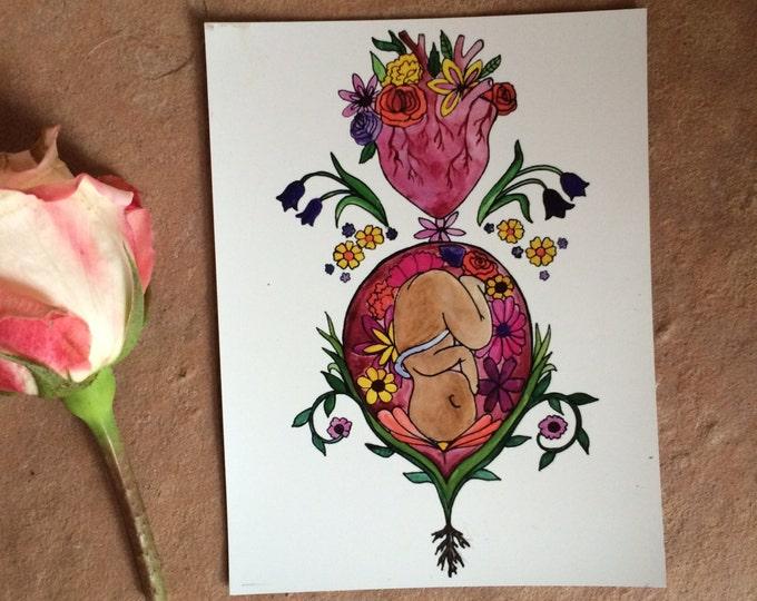 "ALIVE Magnet/ 4"" x 5""/ Fridge magnet/ Birth art/ pregnancy/ gift for doula/ gift for midwife/"