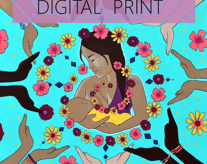 "DIGITAL ""Circle of Support"" print/poster /Birth Art/ Breastfeeding/ Community/ Doula"