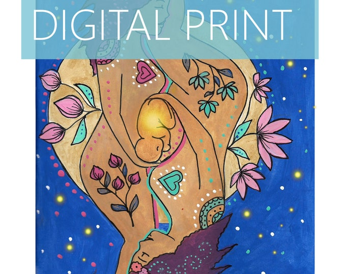 """DIGITAL """"Mirrors"""" print/poster /Birth Art/ Pregnancy Art/ midwife/ doula/ gift for new mom"""