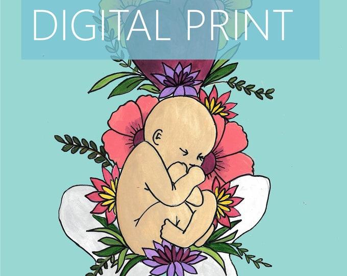 "DIGITAL ""Breech"" print/poster/ Pregnancy Art/ midwife/ doula/ gift for new mom/ birth art"