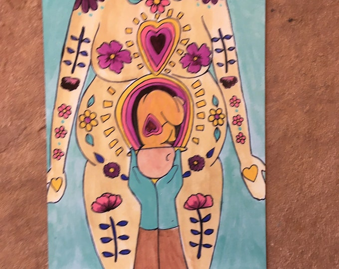 """BELLY BIRTH Magnet/ 4"""" x 5""""/ Fridge magnet/ Birth art/ pregnancy/ gift for doula/ gift for midwife/"""