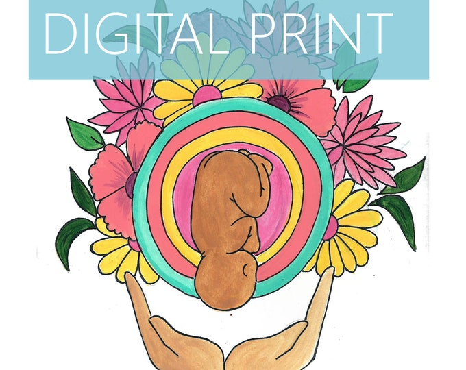 """DIGITAL """"Bouquetl"""" print/poster/ Pregnancy Art/ midwife/ doula/ gift for new mom/ birth art"""