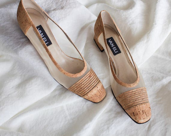 Cork and Mesh Van Eli Pumps