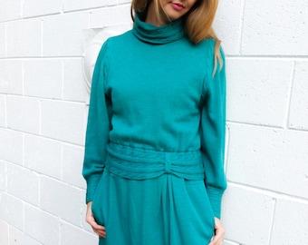 Teal Wool Sweater Dress