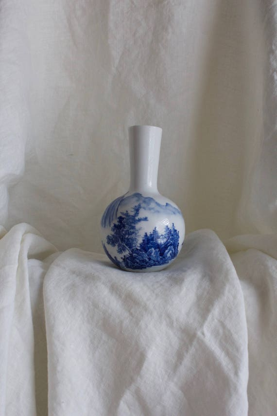 Vintage Classic Blue Painted China Vase, Bud Vase