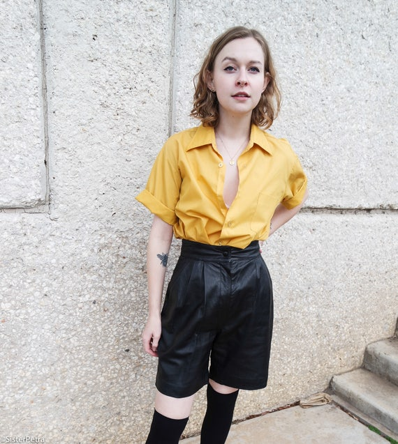 Vintage 80s Black Leather Trouser Short
